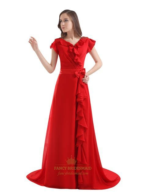 Red V Neck Bow Detail Embellished Prom Dress With