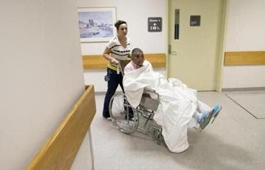 Zilania Joacin, 71, of Haiti has been at Spaulding Hospital Cambridge for treatment after the 2010 earthquake.