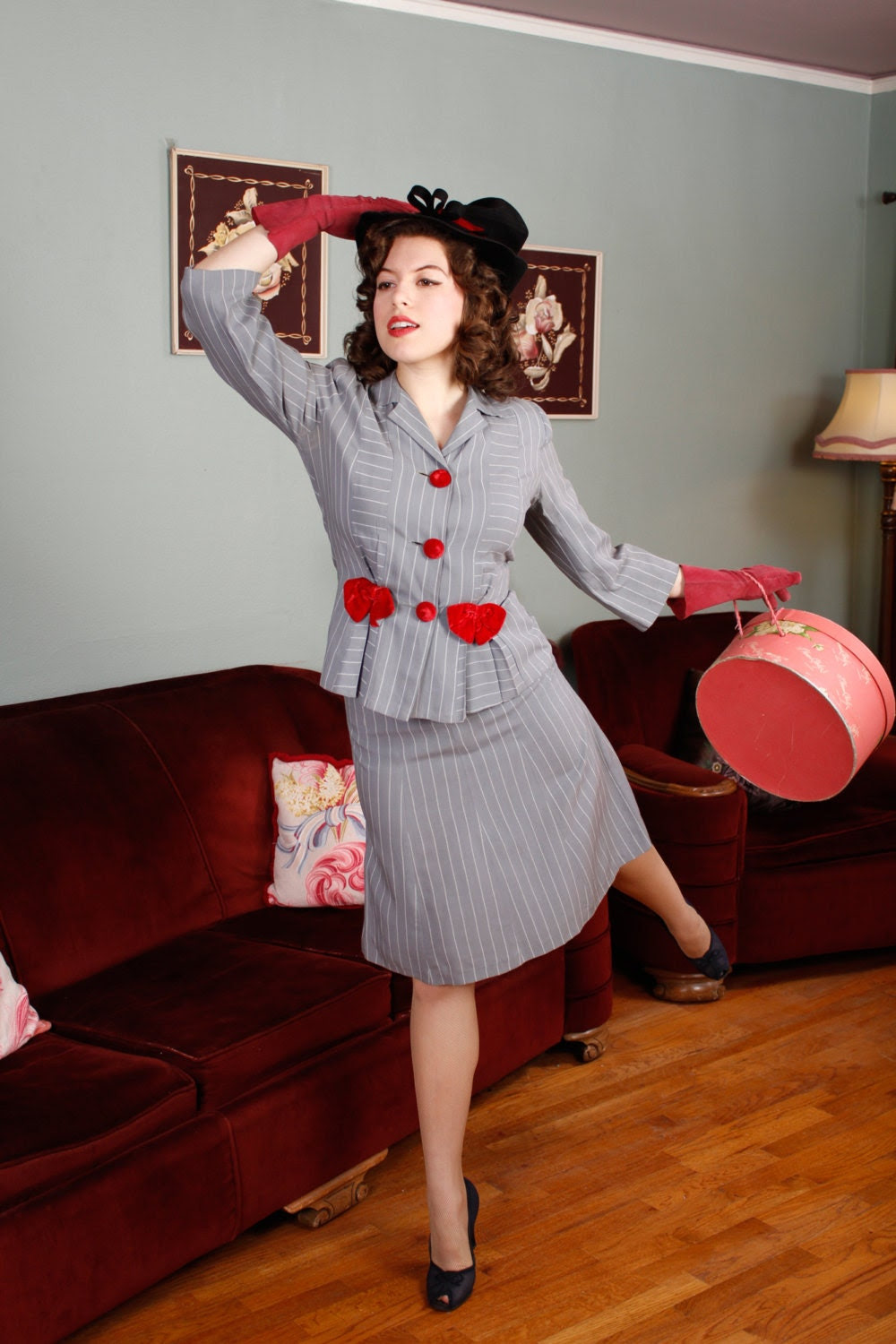 Vintage 1940s Suit - Grey Pinstripe Suit with Velvet Bows - Carefree