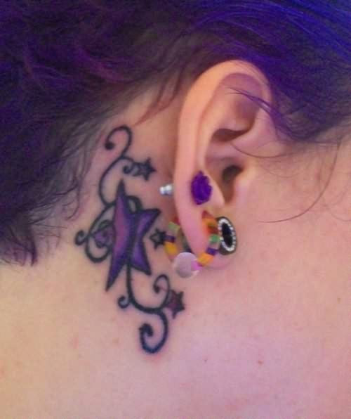 Behind Ear Name Tattoo Design Photo 3 2017 Real Photo Pictures