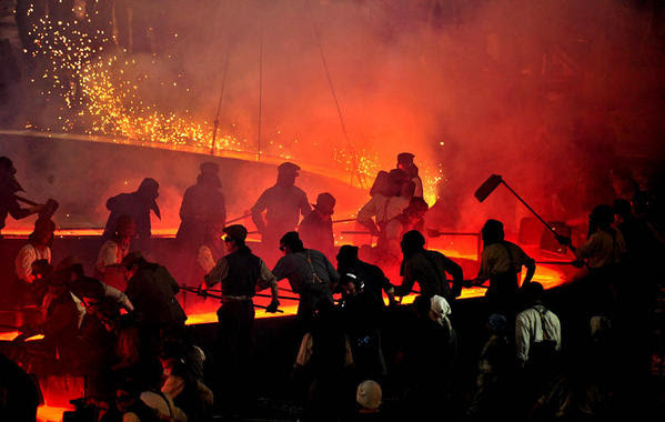 Performers go through their paces during the opening ceremony for the 2012 Olympics.