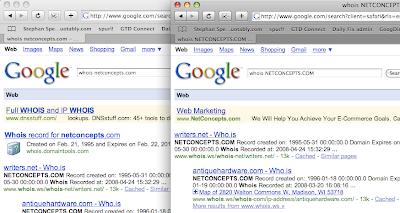 Google SERPs Case Sensitive - whois