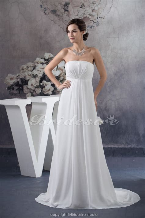 Bridesire   A line Strapless Floor length Court Train