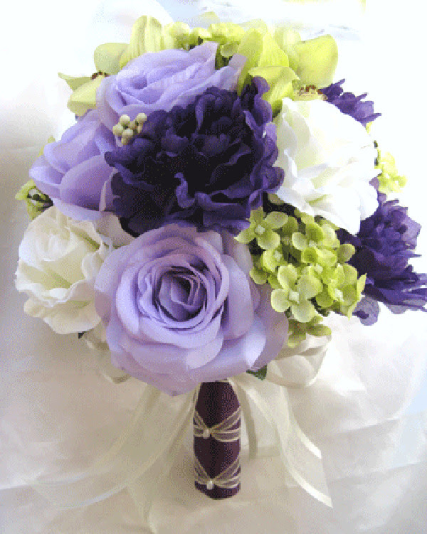 Wedding Bouquet Bridal Silk flowers PURPLE GREEN LAVENDER CREAM 17pc package  eBay