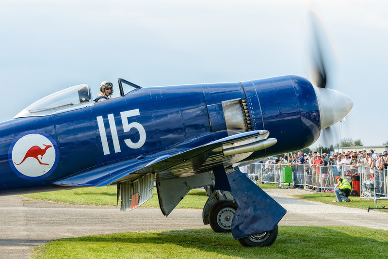 Hawker Sea Fury arriving at Hahnweide 2013