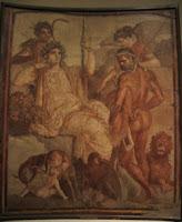 Fresco de Hércules con la piel del león de Nemea