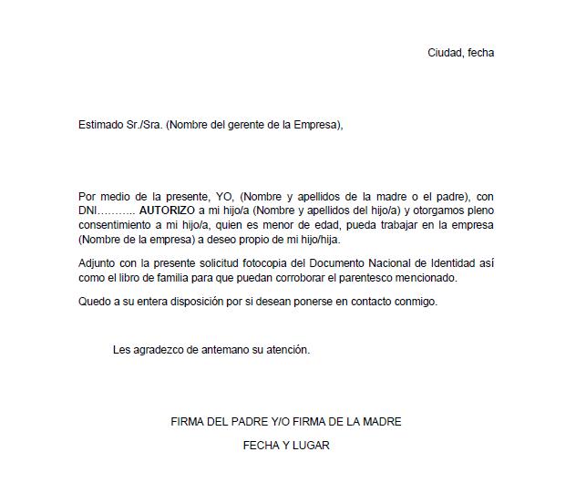MODELO DE CARTA PERMISO DE TRABAJO PARA MENORES DE EDAD