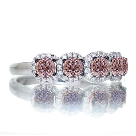 1.5 Carat round cut Classic five stone Morganite and white