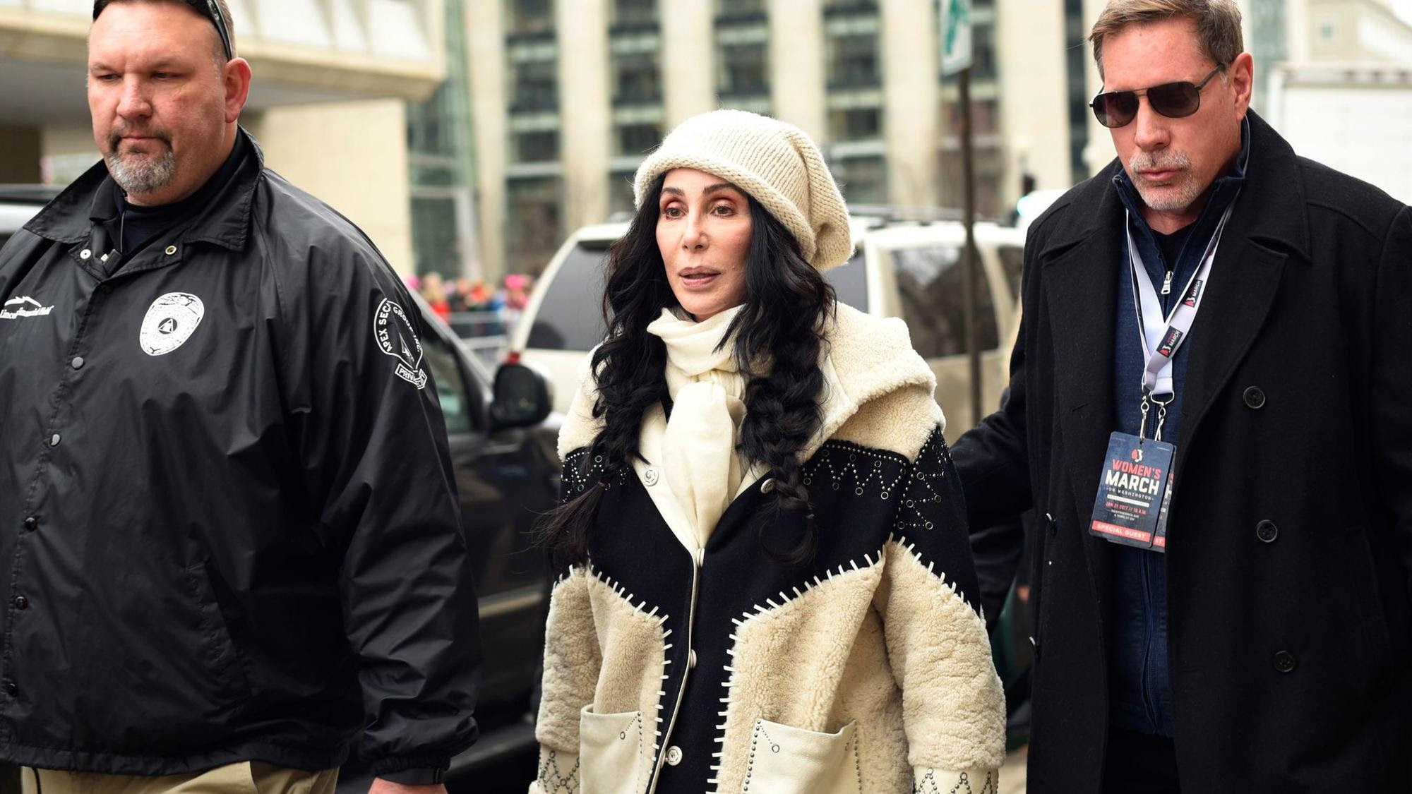 Cher arrives for the Women's March on Washington on Independence Ave. (Sait Serkan Gurbuz / Associated Press)
