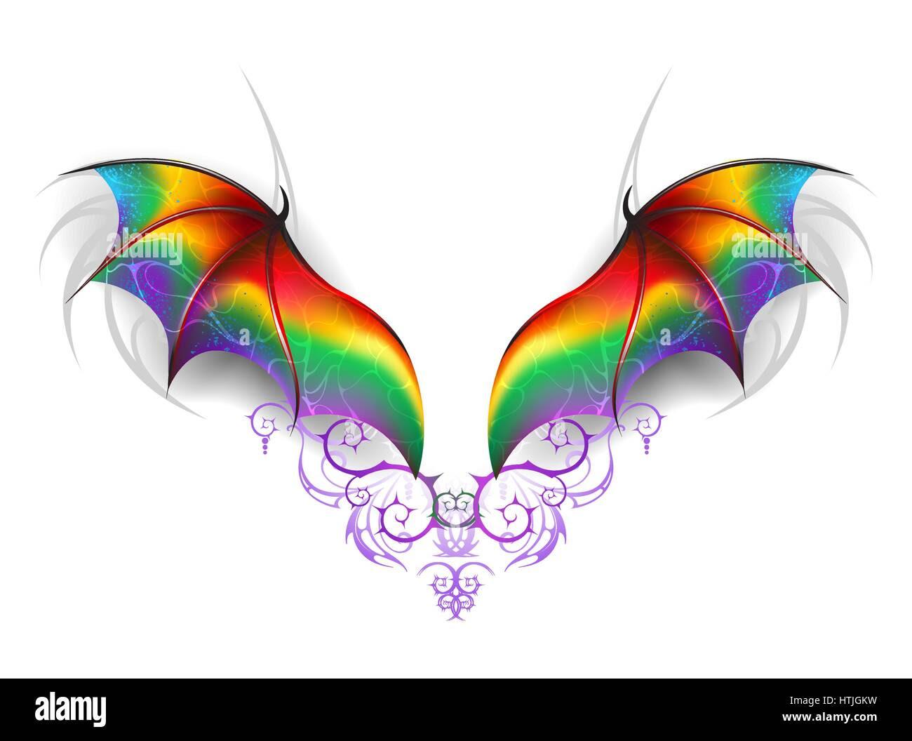 Schönen Regenbogen Flügel eines Märchen Drachen auf einem weißen Hintergrund Flügel eines Stockbild
