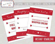 , Naughty Printable Modern Valentine's Day Coupon Book, Voucher Gift ...