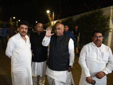 Mallikarjun Kharge with Maharashtra Congress leaders at 10 Janpath after meeting with Congress President Sonia Gandhi on Tuesday. Getty Images