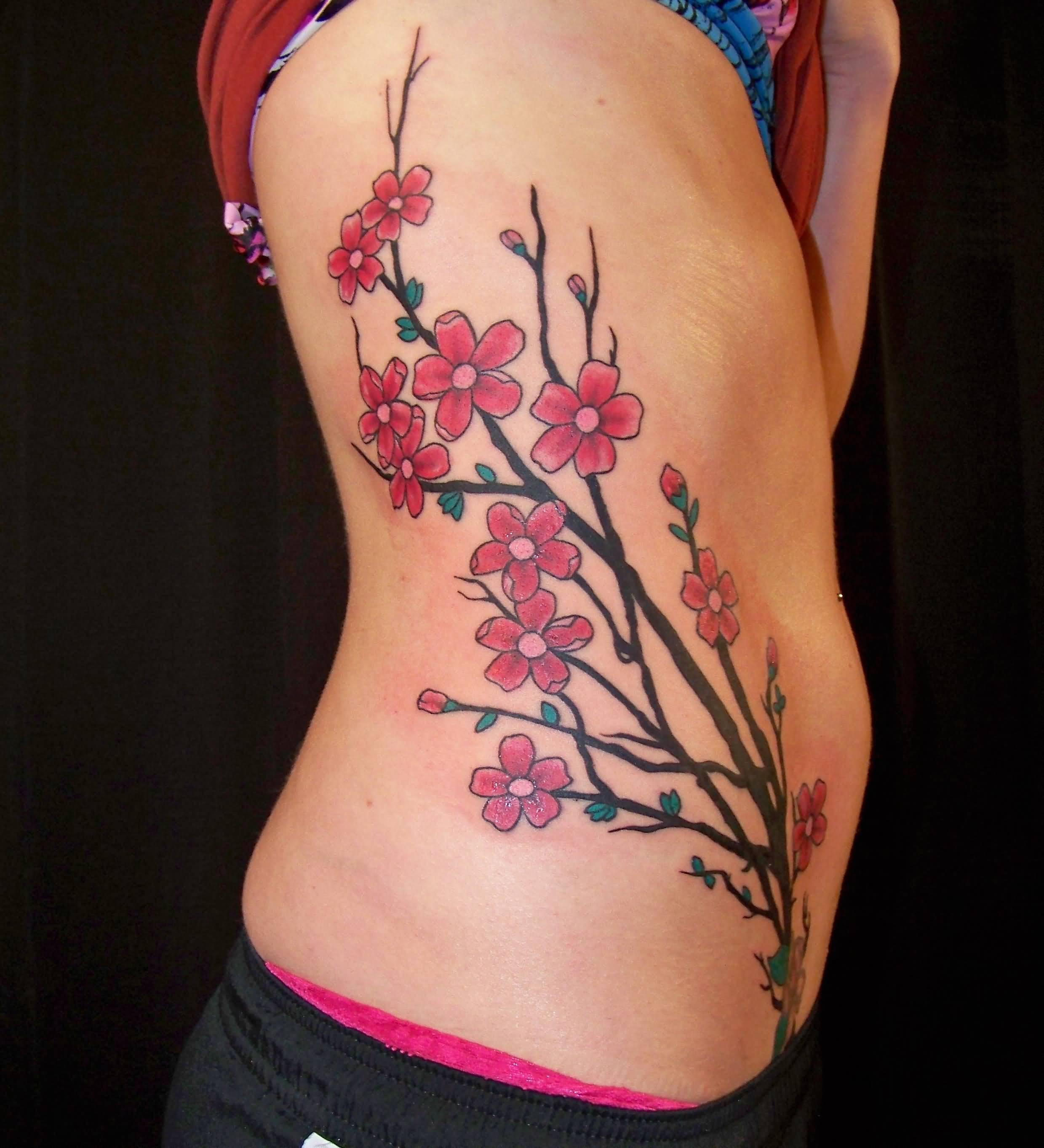 Girl Side Rib Cherry Blossom Tattoo