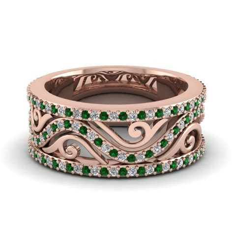 Affordable Emerald Wedding Bands For Women   Fascinating