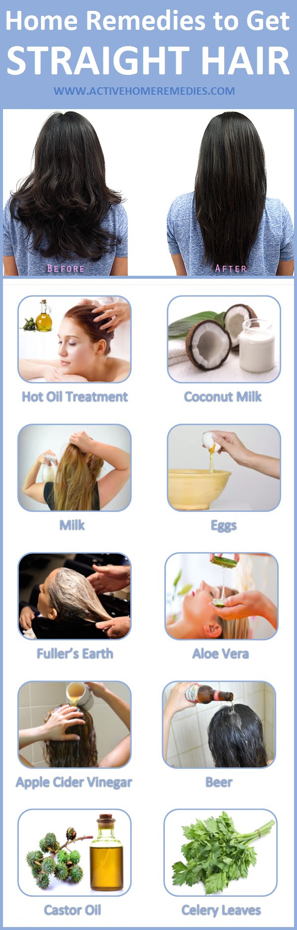 home remedies to get straight hair infographic