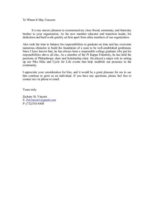 letter of recommendation Zach St. Vincent
