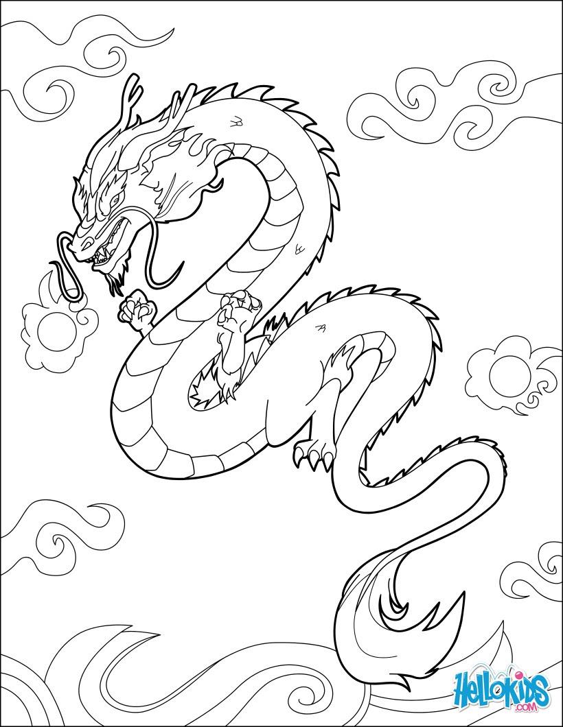 Dibujos Para Colorear Dragon Chino Es Hellokids Com