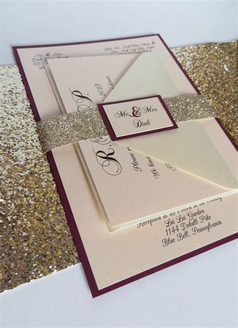 Burgundy Wedding Invitation with Glitter Ribbon Belly Band