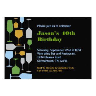 Wine Glasses Birthday Party Invitation