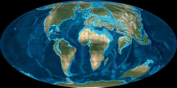 Position of continents during early Eocene epoch.