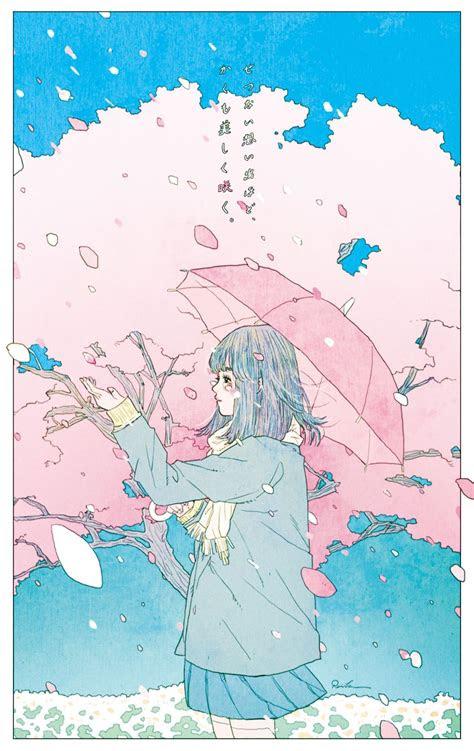 blue bookmark kato rei japanese illustration art