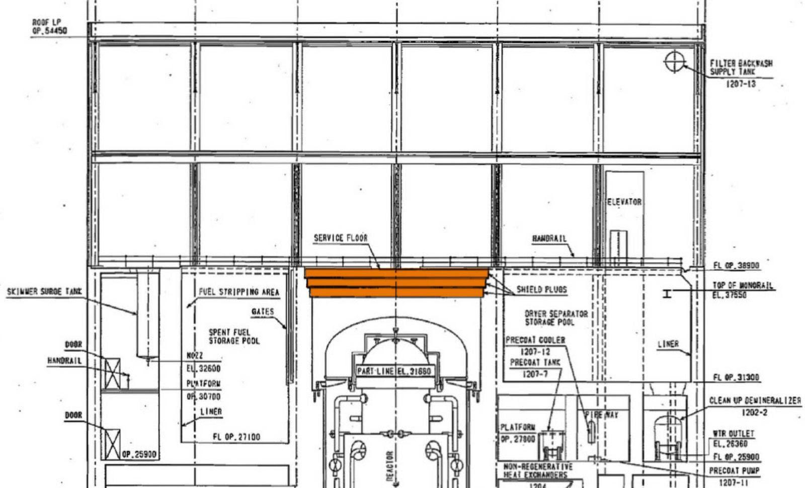 Fig. 67 : Localisation des dalles qui bouchent le puits de cuve