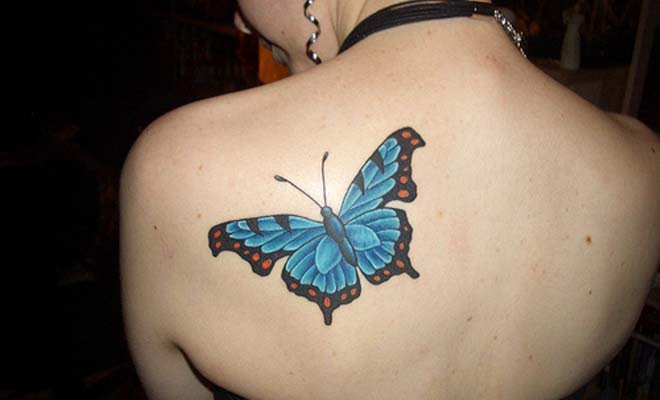 Beautiful Butterfly Tattoo On Back Shoulder Bigshocking