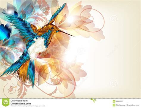Colorful Vector Design With Realistic Hummingbird And