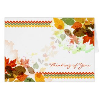 Chevron Autumn Fall Leaves Thinking of You