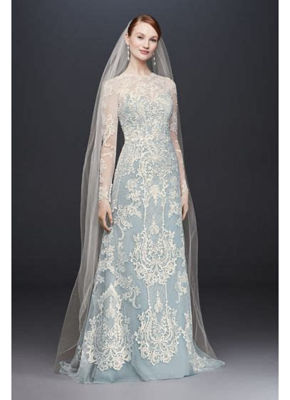 Illusion Lace Long Sleeve Sheath Wedding Dress   David's
