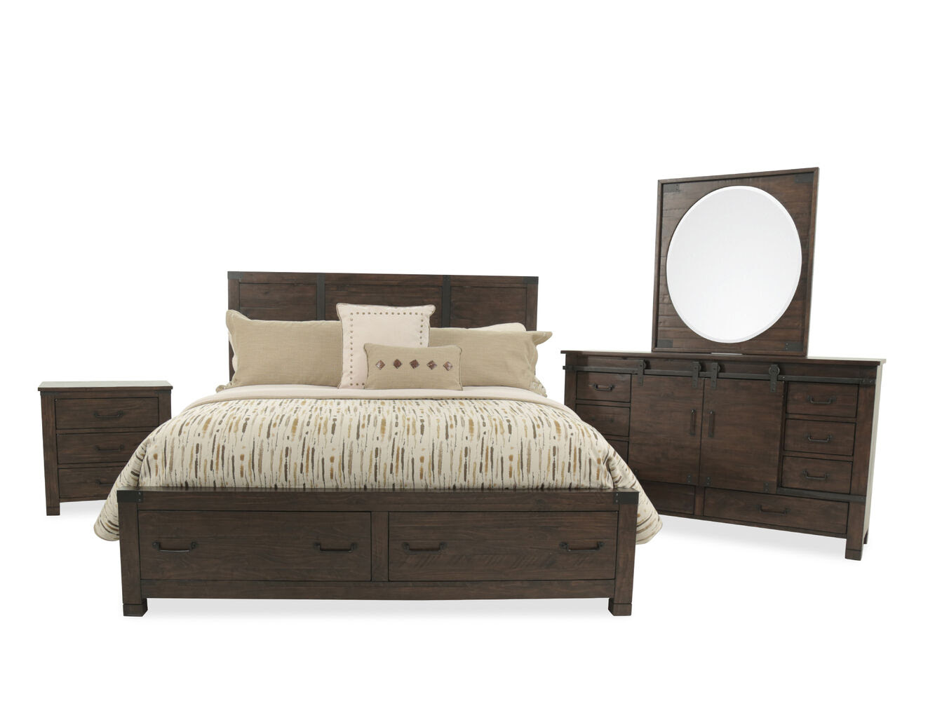 Four-Piece Solid Wood Bedroom Set in Rustic Pine | Mathis ...