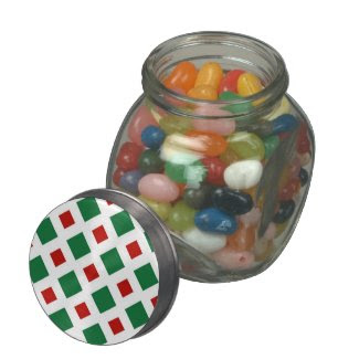 Green and Red Diamonds on White Glass Candy Jars