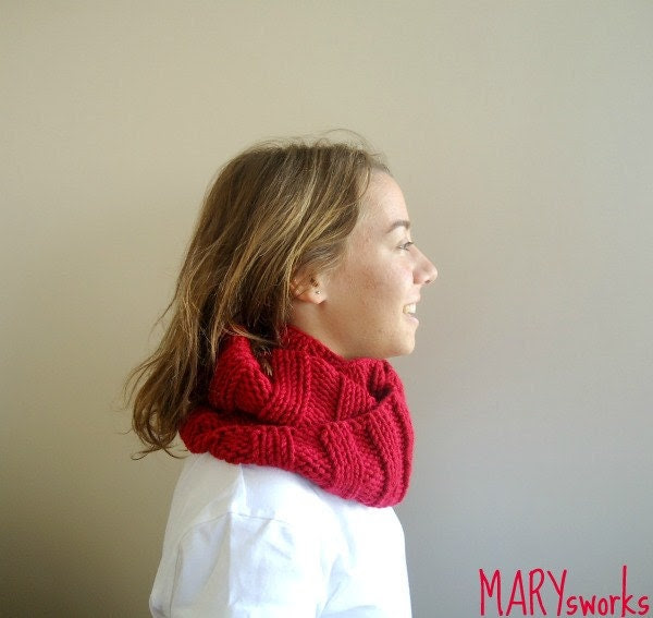 FALL FASHION Burgundy RED  Neckwarmer cowl with Gray Brooch