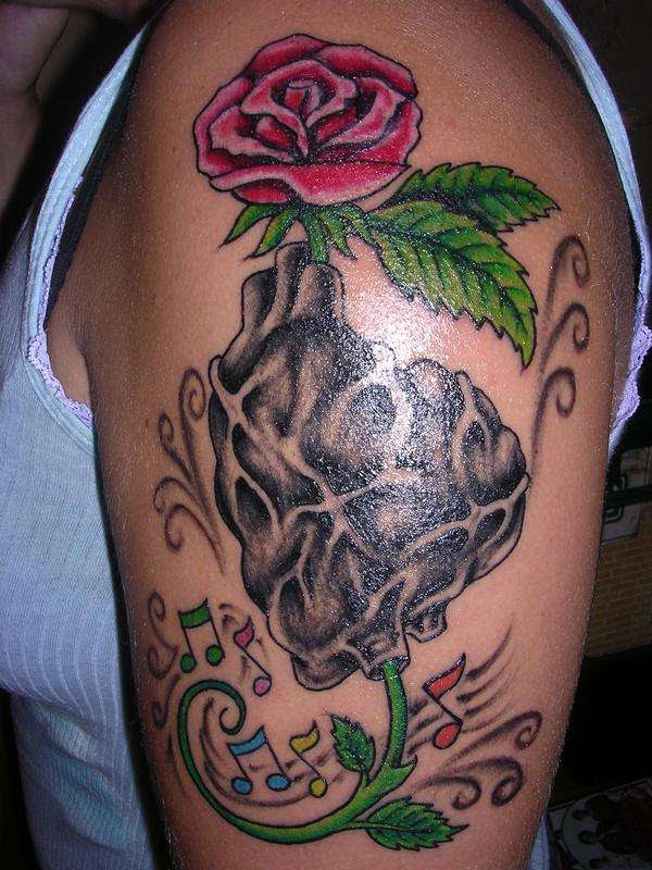 Rose And Heart Tattoo