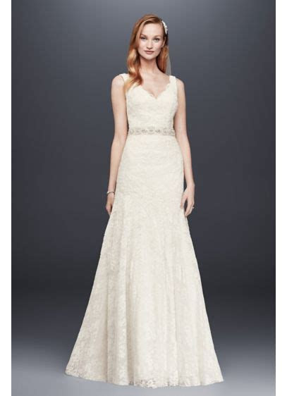 Jewel Lace Wedding Dress with Scalloped V Neck   David's