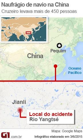 Naufrágio de navio na China (mapa) (Foto: Arte/G1)