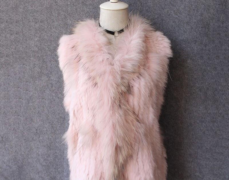 Comprar Chaleco Genuino De Piel Conejo Real Para Mujer Natural Moda Con  Cuello Mapache Y Borlas Online Baratos  4a5d527f7637