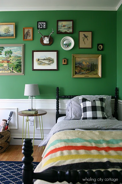 Vintage Styled Boys Room in Green - Interiors By Color