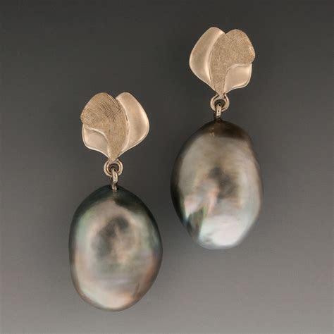 14K White Gold Tahitian Black Keshi Baroque Pearl Earrings