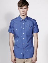 Topman Blue Sport Patterned Shirt