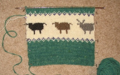 Rare Breed Sweater row of Shetland sheep.