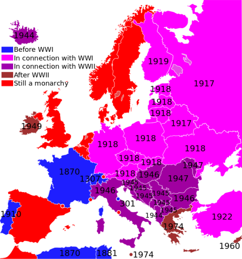 When monarchy was abolished in European countries.[[MORE]]ineverpickedcotton:Some monarchies are a little hard to pinpoint, such as the Yugoslavian, since the king was in exile and had no control of the country long before he was officially disposed. I've tried to use the nominal date in those cases.Switzerland and San Marino haven't really been monarchies. There I've used the date when the republic was established, and they had mainly been preceded by monarchies.I have used modern state borders, which may pose some problems since the modern state might not have existed when the monarchy disappeared.