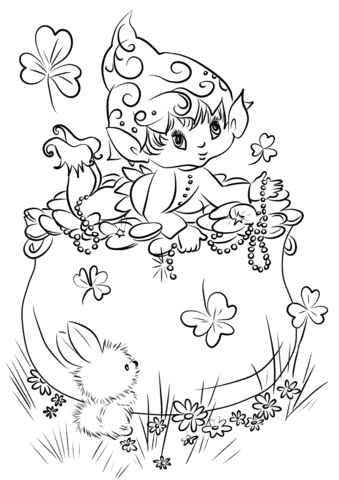cute leprechaun on a pot of gold coloring page  free printable coloring pages