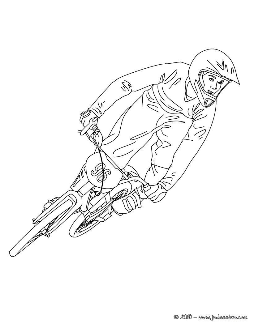 Coloriages biker qui saute en vélo bicross  colorier fr hellokids