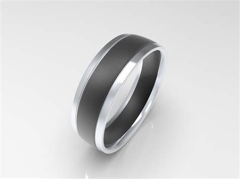 xv brushed black sterling silver mens wedding band