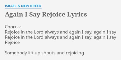 Rejoice In The Lord Lyrics Israel