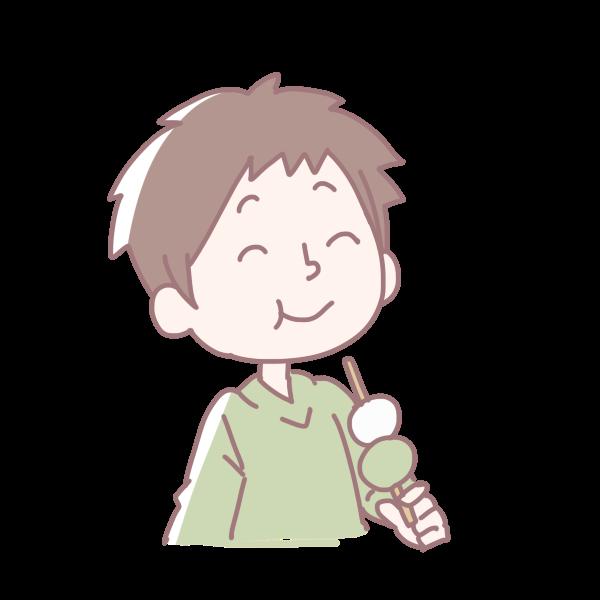 お団子を食べる男の子のイラスト かわいいフリー素材が無料のイラスト