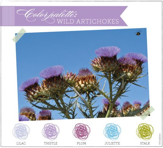 color palette: wild purple artichoke flowers - delphine ephemera blog - musings on stationery, wedding invitations & graphic design
