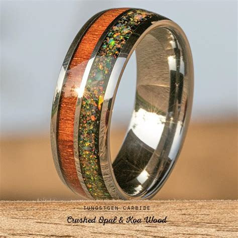 Tungsten Carbide Ring with Crushed Opal & Hawaiian Koa