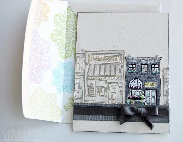 POD white hometown card & envelope mel stampz